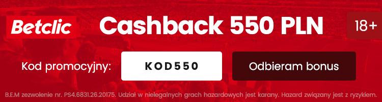 betclic polska cashback 550 pln